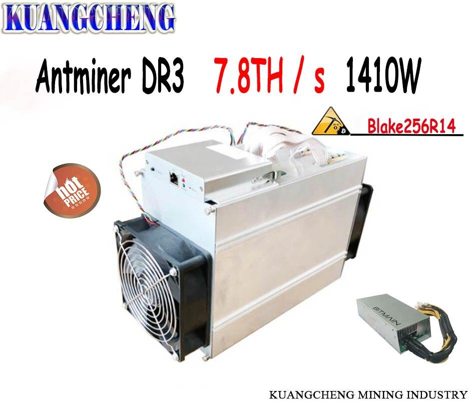¡Envío libre! antminer DR3 7.8TH/S con BITMAIN APW3 + + alimentación Asic minero mayor rendimiento que Innosilicon D9 y FFminer