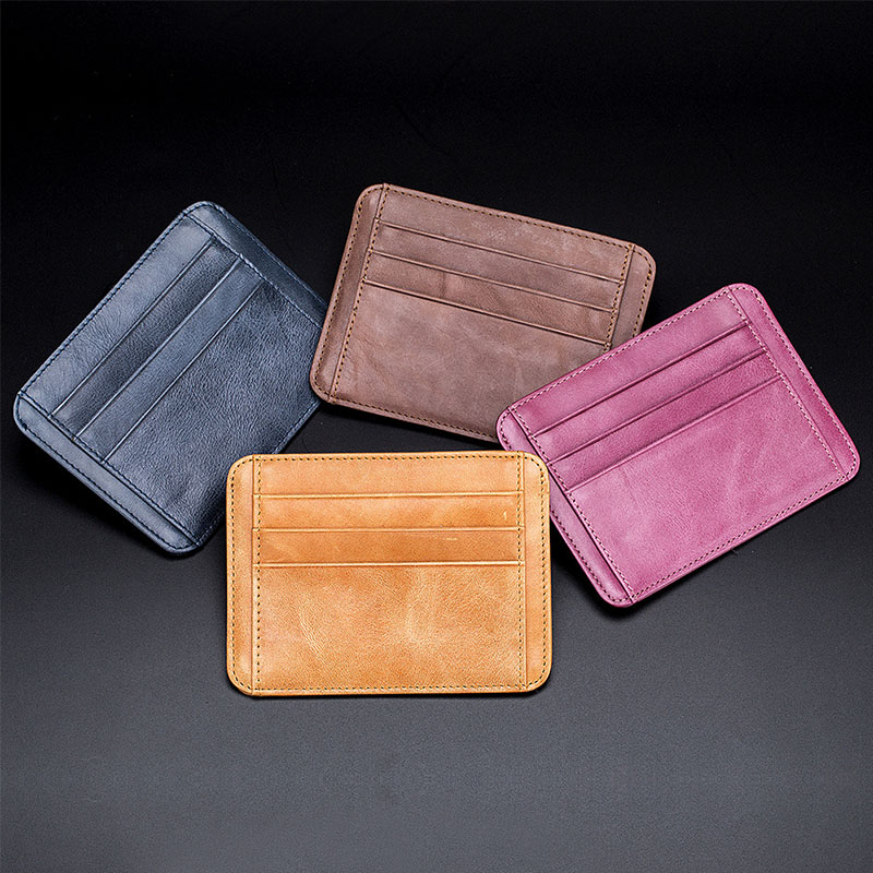 Good Quality Men Genuine Leather Business Credit Card Holder Fashion Ultrathin Small Wallet Men's Mini Coin Purse Slim 2019 New