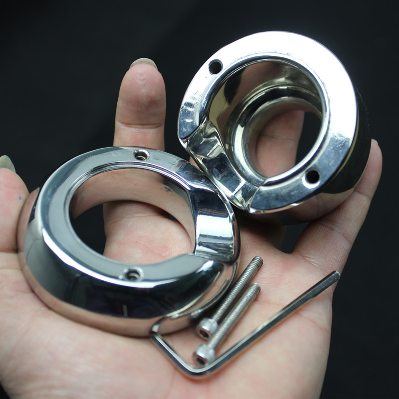 Heavy Top Stainless Steel Scrotum Weight Pendant Penis Restraint Locking Testis Weight Chastity Device Penis Ring Sex Toy B2-66