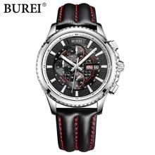 BUREI Man Multifunctional leather casual Wristwatch Men's Quartz Business Watch male luminous sport clock hour relogio masculino