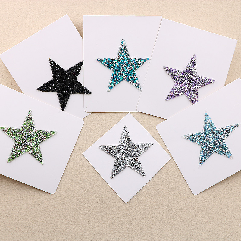 Multiple Sizes Crystal Rhinestone Star Patches for Clothing Iron on Clothes  Appliques Badge Stripes Diamond Pentagram 27d6d1f9610c