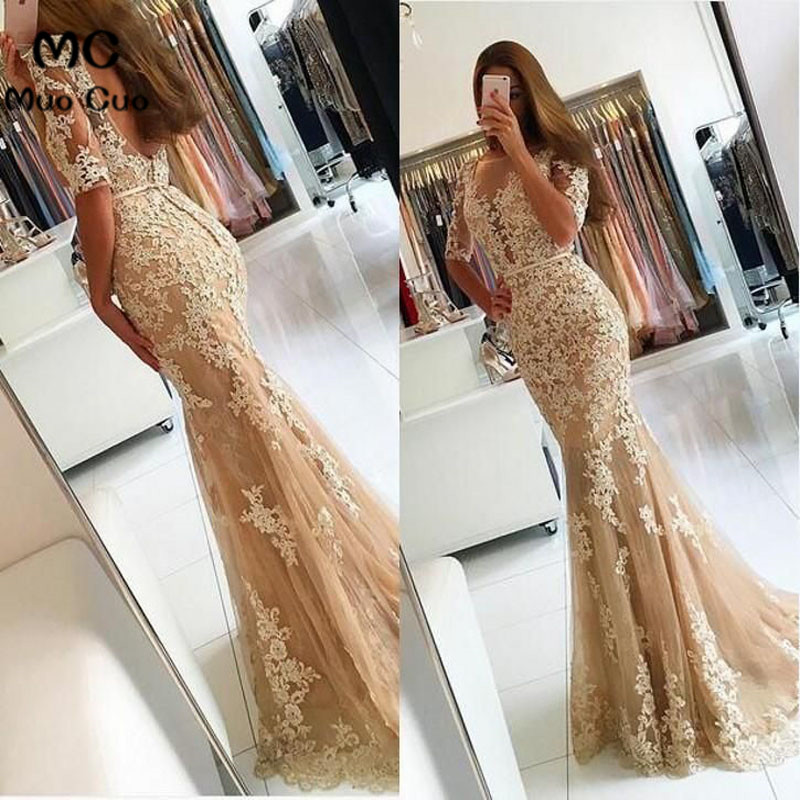 2018 Mermaid Prom Dresses with Appliques V Neck Sweep Train Half Sleeve Backless Tulle Formal Evening Party Dress for Women