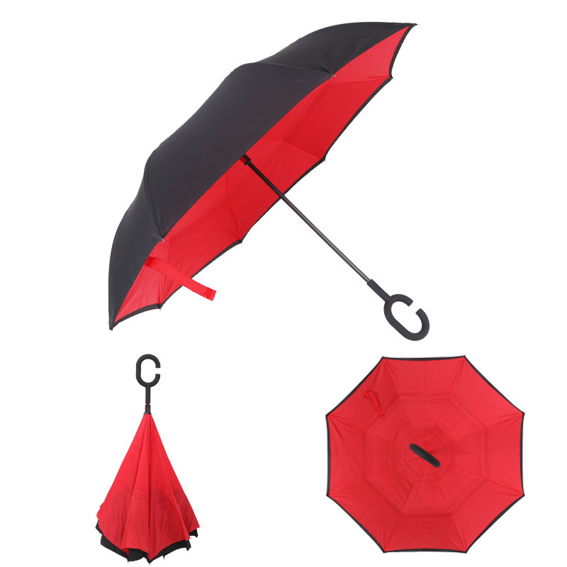 5518dbd32b3b Reverse Umbrella Folding Double Layer Inverted Windproof Rain Car ...