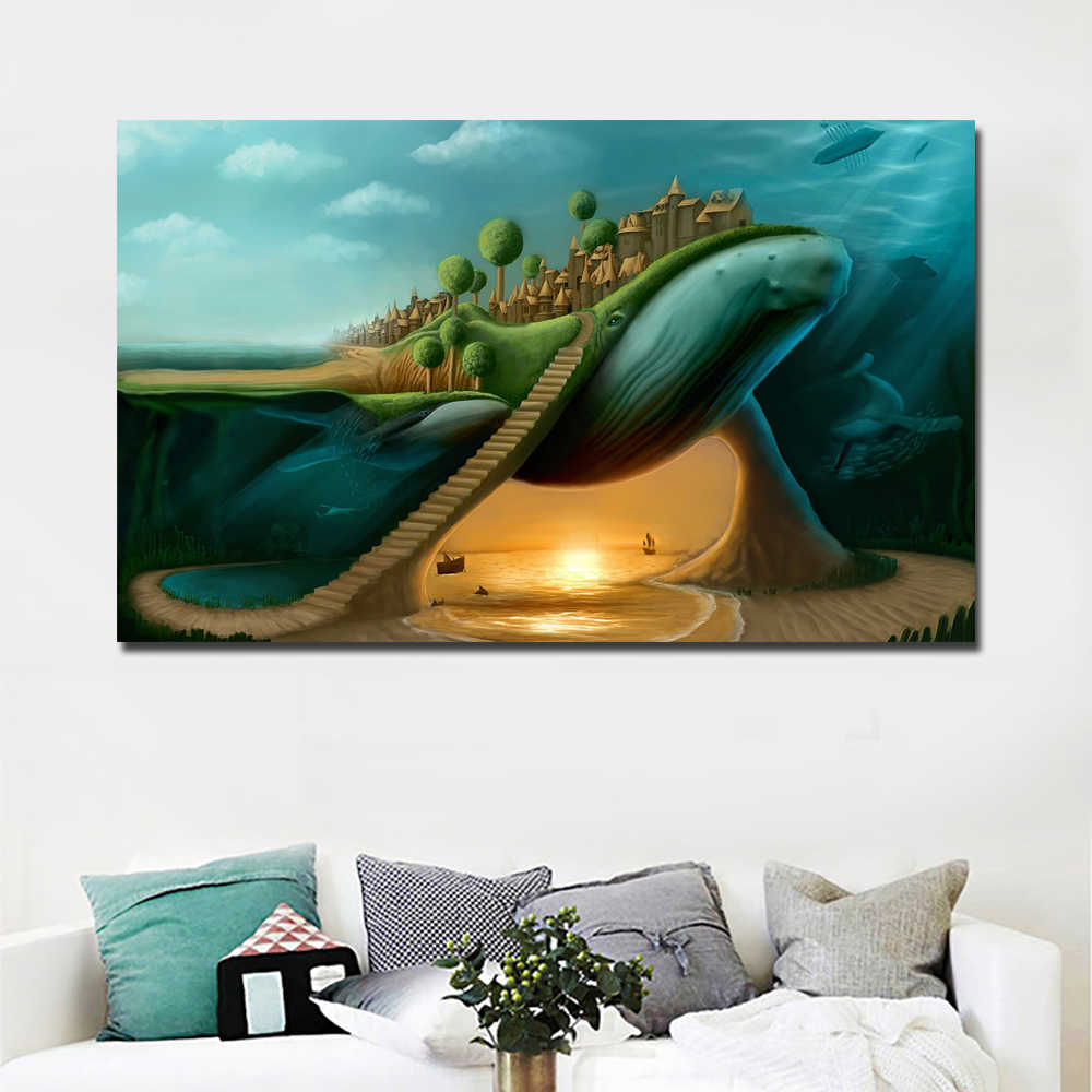 Hotselling Abstract Art Surrealism Whale And Castle Printed on Canvas Wall Art Picture for Living Room Poster Cudros Decor