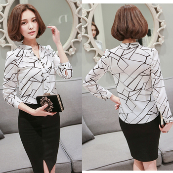 Women Chiffon Blouse Shirt 2018 Female Clothing Long Sleeve Blusas Chiffon Women's Office Blouses Print Striped Dot Lady OL Top