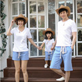The new parent-child outfit summer wear white pocket family of three family pack short-sleeved cotton stripe T