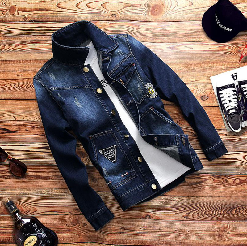 2018 Spring New Brand Denim Shirt Men Jeans Slim Fit Long Sleeve Social Dress Mens Cotton Casual Shirts Dark Blue Biker Jacket