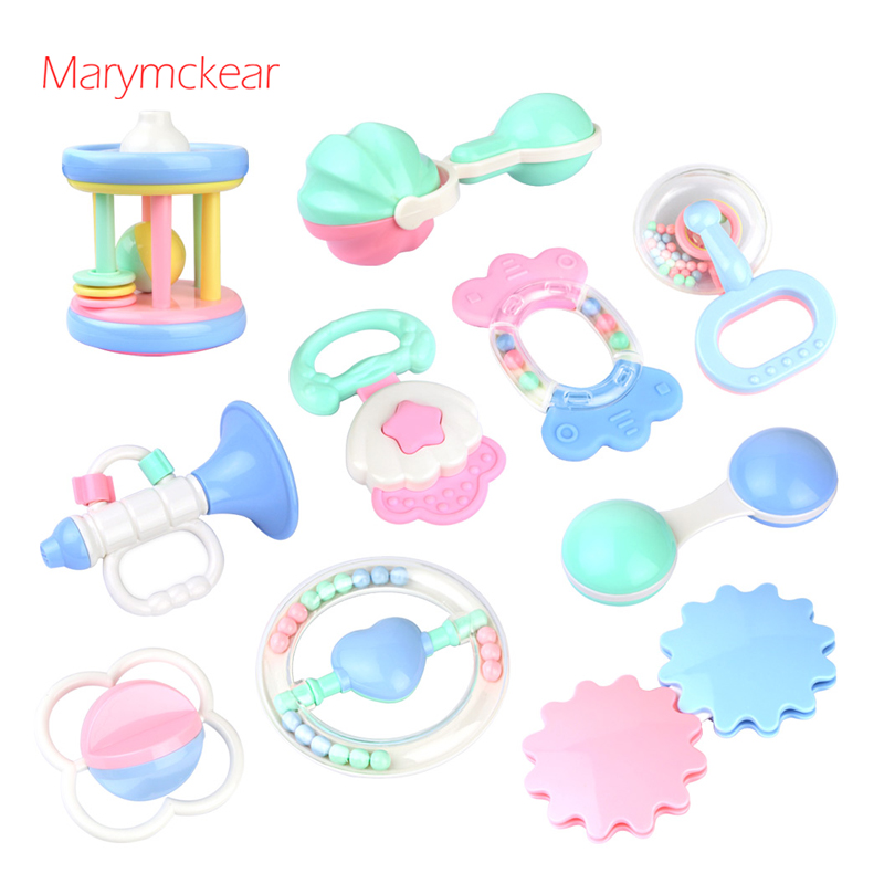10pcs/set Funny <font><b>Toy</b></font> Rattle <font><b>New</b></font> <font><b>Born</b></font> <font><b>Toys</b></font> Handbell Rattle Bead <font><b>Toys</b></font> Baby 1 year Chocalho Rattle Baby <font><b>Toys</b></font> Kids Gift Bells image