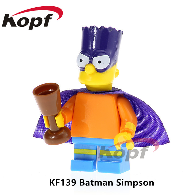 KF139 Single Sale Super Heroes Building Blocks Batman Simpson wild Deadpool Yellow Jacket Iron Man For Children Bricks Toys Gift single sale super heroes red yellow deadpool duck the bride terminator indiana jones building blocks children gift toys kf928