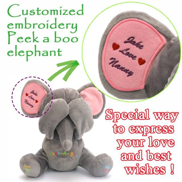 Free Shipping Peek A Boo Elephant Stuffed Animated Custom