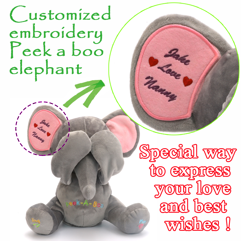 Free Shipping Peek A Boo Elephant, Stuffed animated & custom embroidery Plush Toy ,Singing Baby Music Toys For Kids Gift