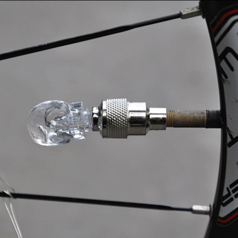 2 Pcs/Set LED Bicycle Wheel Tire Valve Cap Light Safety Warning Flashing Colored Diamond /Skull Shape Lamp