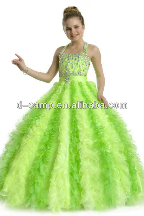 FREE SHIPPING FG 078 Lime green puffy ball gown kids beauty pageant ...