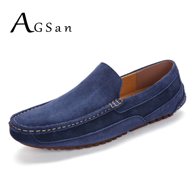 AGSan Handmade Genuine Leather Men Loafers Solid Color Leisure Casual Loafers Driving Shoes Blue Mens Moccasins Slip On Flats