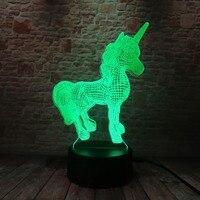 3D Creative Luminaria Unicorn LED Table Lamp Lantern 7 Color Change Night light Lampe Led Cartoon Usb Light Xmas New Year Gifts 1