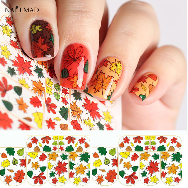 1 sheet Maple Leaf Nail Water Decals Autumn Leaves Nail Art Sticker ...