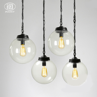 Loft Industriële Vintage Glass Hanglamp Glazen Bal Shade E27 Edison Droplight Cafe Bar Winkel Eetkamer Hall Verlichting