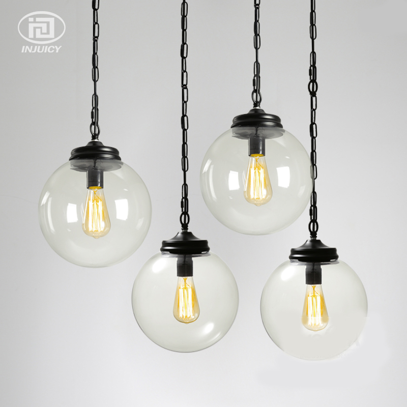Loft Industrial Vintage Clear Glass Pendant Light Glass Ball Shade E27 Edison Droplight Cafe Bar Shop Dining Room Hall Lighting 32cm vintage iron pendant light metal edison 3 light lighting fixture droplight cafe bar coffee shop hall store club