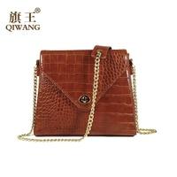 QIWANG PU Crocodile Pattern Women Shoulder Bags Crossbody Luxury Brand Elegant Ladies Fashion Small Bags Handbag Purse With Lock