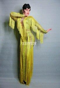 Image 2 - イエロー縞ラインストーンドレスレディーイブニングパーティーセクシーなロングドレスウエディング誕生日祝うストレッチタッセルドレス