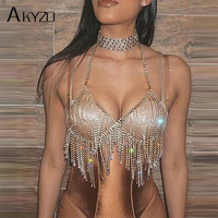 AKYZO Women 2017 Fashion Camis Sequined Rhinestone Metal Chain Bra Hollow Out Party Crop Tops Summer