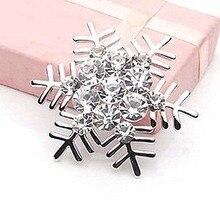 Crystal Rhinestone Wedding Bridal Brooch Pin Beautiful Snowflake Winter Snow For Xmas Christmas Silver Color Brooches