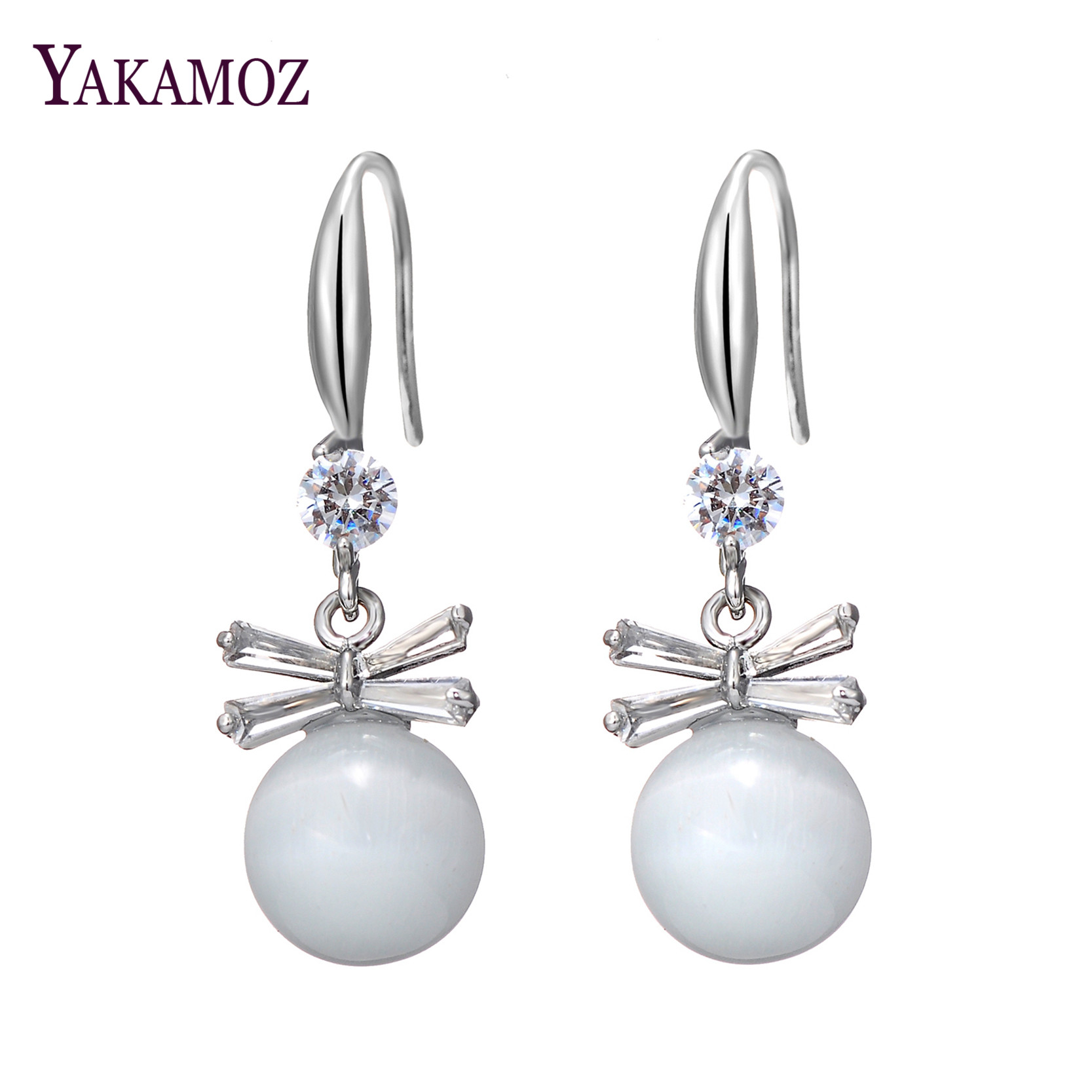 Uxury Crystal Zircon And Shell Pearl Bowknot Design Earrings ,original  Wedding Accessories(
