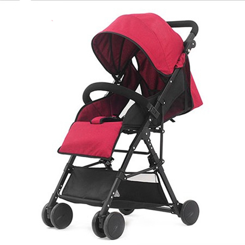 New Ultralight Baby Stroller Folding Bording Cotton Linen High Landscape Baby Umbrella Four-wheeled Trolley Children Safe Car