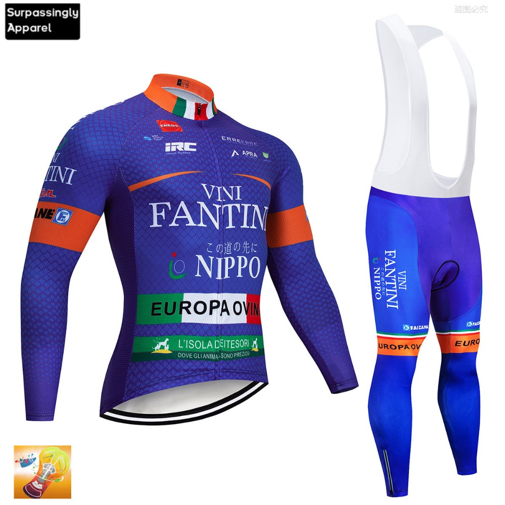 2019 Pro Men 39 s Blue VINI Cycling Jersey Long Sleeve Set Bicycle Jersey Set Ropa Roupa De Ciclismo Invierno MTB Bike Clothing 16D in Cycling Sets from Sports amp Entertainment