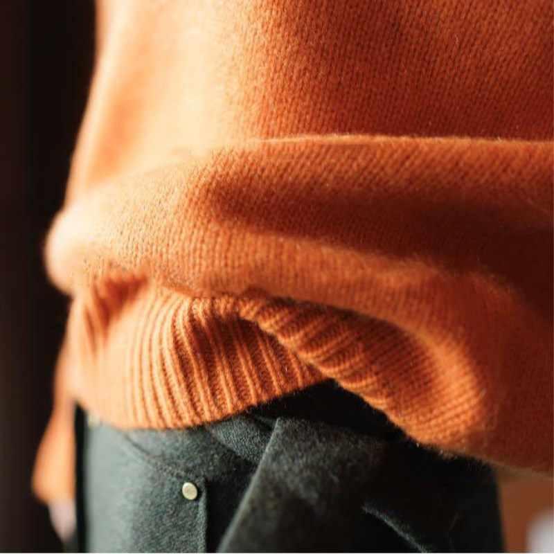 Lhzsyy 겨울 새로운 높은 칼라 캐시미어 스웨터 고품질 패션 느슨한 여성용 스웨터 솔리드 컬러 소프트 풀 오버 두꺼운