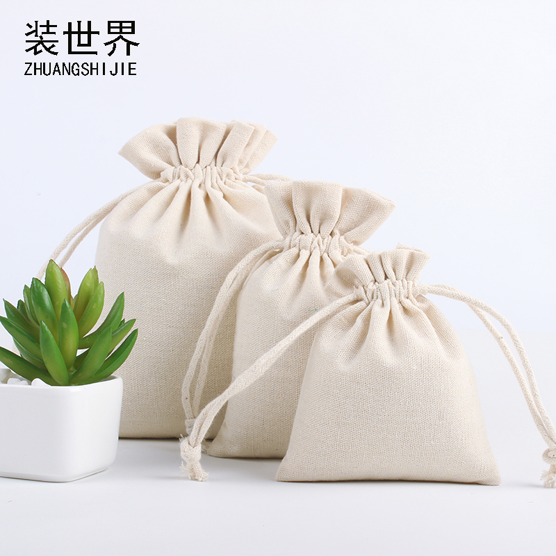 100pcs/Lot 10*15cm Custom Logo Printed Natural Jute Linen Drawstring Pouch Packaging Christmas Bag