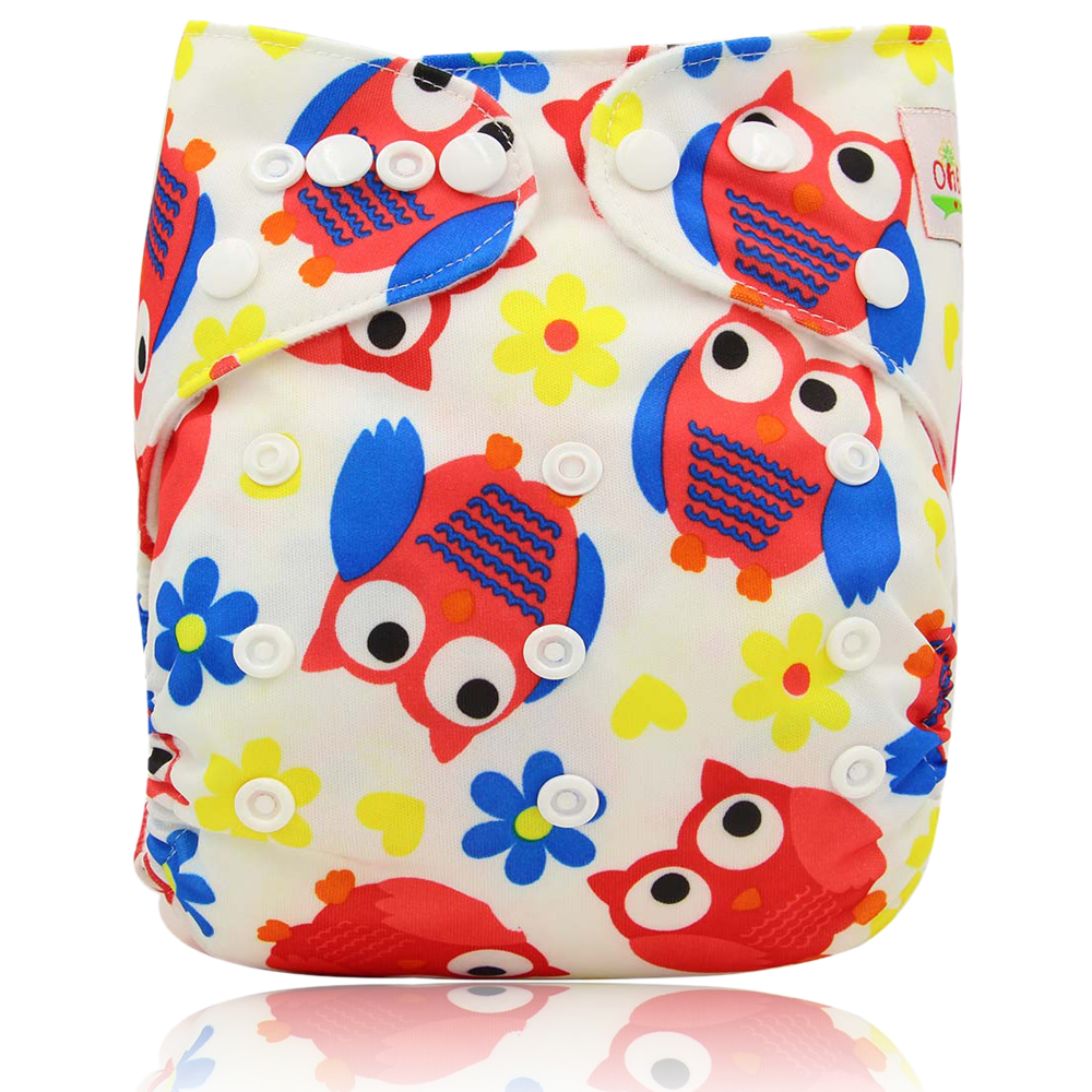 OhBabyKa Baby Cloth Diaper with New Design Printed Pack Sale 4pcs Diapers + 4Pcs Microfiber Insert+ 1pc Wet Nappy Bag Baby Care