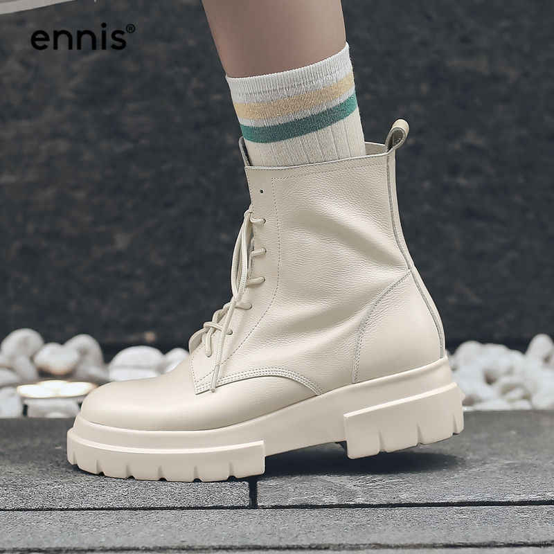 ea7b33a74ac5 ENNIS 2018 Martin Winter Boots Women Genuine Leather Ankle Boots Platform  Heel Lace Up Boots Flat