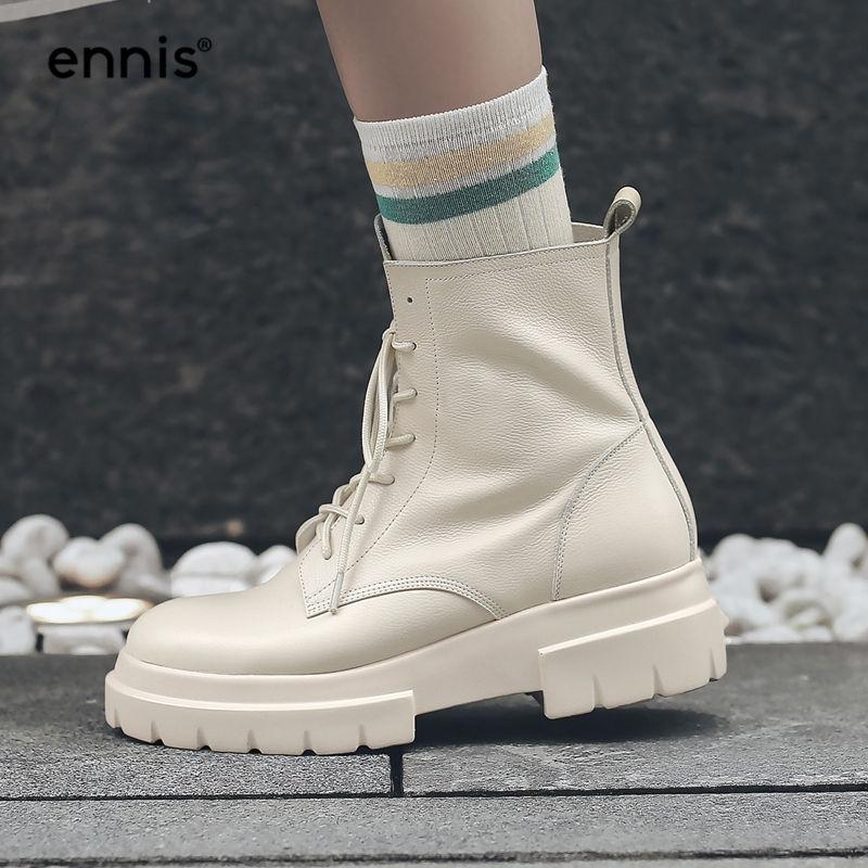 ENNIS 2019 Martin buty zimowe damskie buty do kostki ze skóry naturalnej platformy obcas sznurowane buty płaskie zimowe buty czarny beżowy A8196 w Buty do kostki od Buty na  Grupa 1