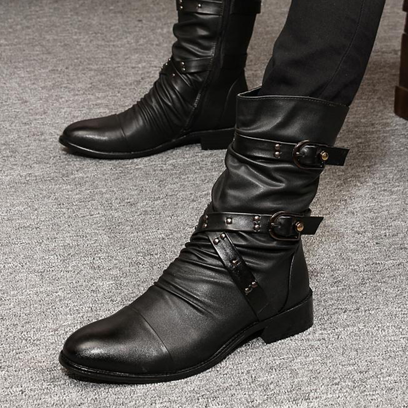 2019 New Leather Men Pointed Boots Men's Motorcycle Boots Riding Hunting Casual Walking Shoes Designer Punk Botas Hombre Black
