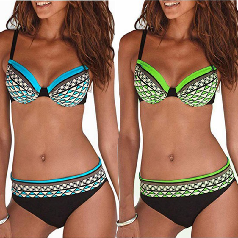 Tengweng 2019 Sexy Push up Bikini Women Plus size Swimsuit Print Two piece Swimwear Vintage Bandeau Female Bathing suit XXL
