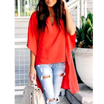 Casual Solid Loose Short Sleeve Long T Shirts Tops