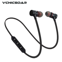 Vchicsoar V1 Metal Magnetic Bluetooth Earphone Sports Running Stereo Bass Wireless Earphones Earbuds Headset with Mic for iPhone