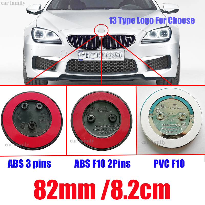 Car Styling 82mm ABS PVC 2pins 3pins Car Head Hood Badge Front rear Emblem Blue white Carbon For F10 F30 F15 E91 E92 E93 F02