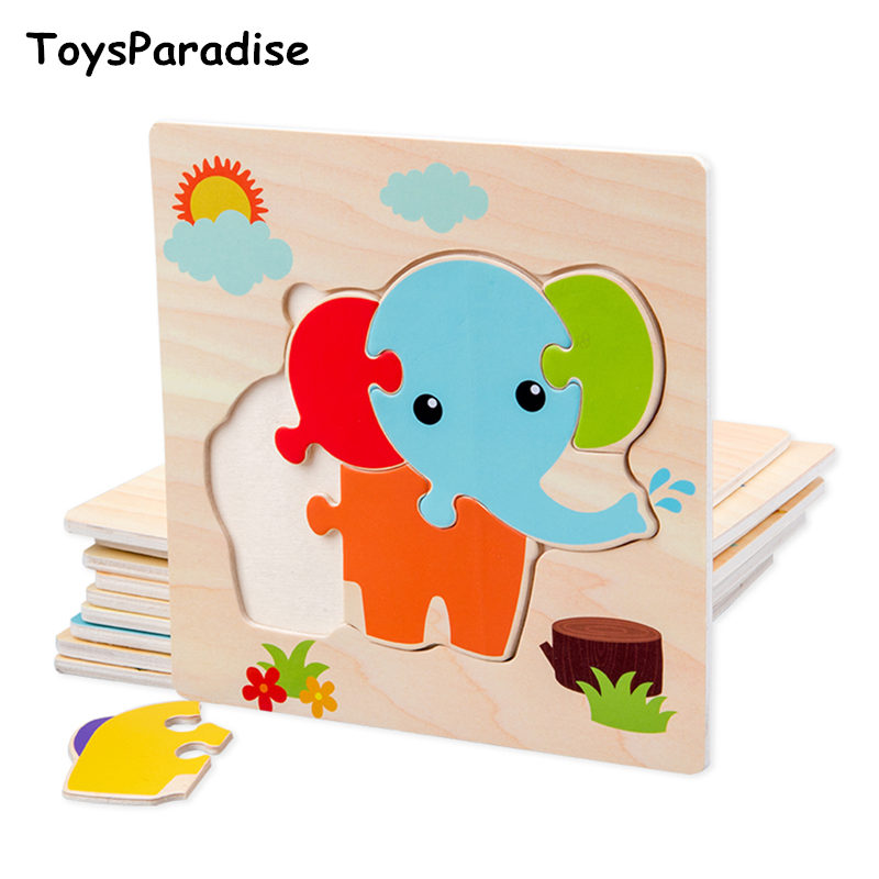 New Arrival Vehicle/Animal 3D Puzzles Wooden Toys For Kids 10 Kinds Baby Montessori Jigsaw Toys Early Learning Educational Gift