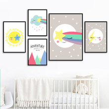 Cartoon Moon Sun Star Cloud Rainbow Meteor Wall Art Canvas Painting Nordic Posters And Prints Pictures For Kids Room Decor