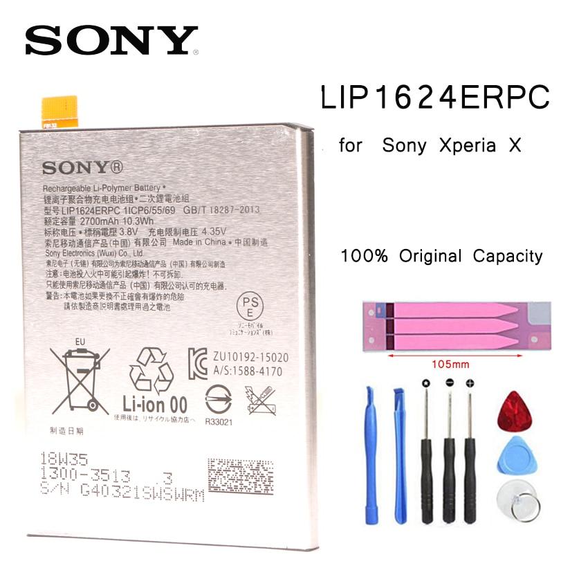 Original da SONY Baterias de Substituição Bateria Do Telefone Para SONY Xperia X Desempenho F8132 LIS1624ERPC bateria com Ferramentas adesivo