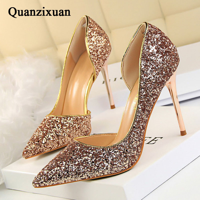 QUANZIXUAN Women Pumps Extrem Sexy High Heels Women Shoes Thin Heels Female Shoes Wedding Shoes Gold Sliver White Ladies Shoes
