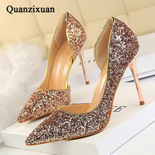 QUANZIXUAN Women Pumps Extrem Sexy High Heels Women Shoes Thin Heels Female Shoes Wedding Shoes Gold Sliver White Ladies Shoes(China)