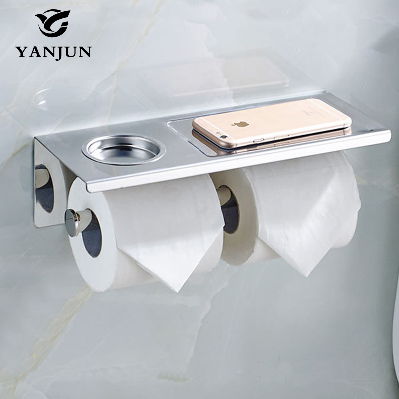 Нержавеющаясталь Туалет Бумага держатель с полкой клей двойной держатель салфеток с Mobile Rack Аксессуары для ванной комнаты YJ-8823