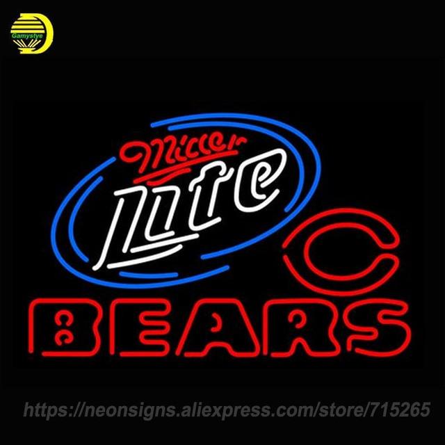 NEON ZEICHEN Für Miller Lite Bears LEICHTER Schild arcade ECHT GLAS BIER BAR PUB display Schmücken Zimmer Licht Zeichen Garantieren lampe