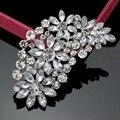Large Bridal Imitation Gemstone Flower Pin Brooch Diamante Rhinestone Wedding Brooch Pins Women Broach Party Accessories