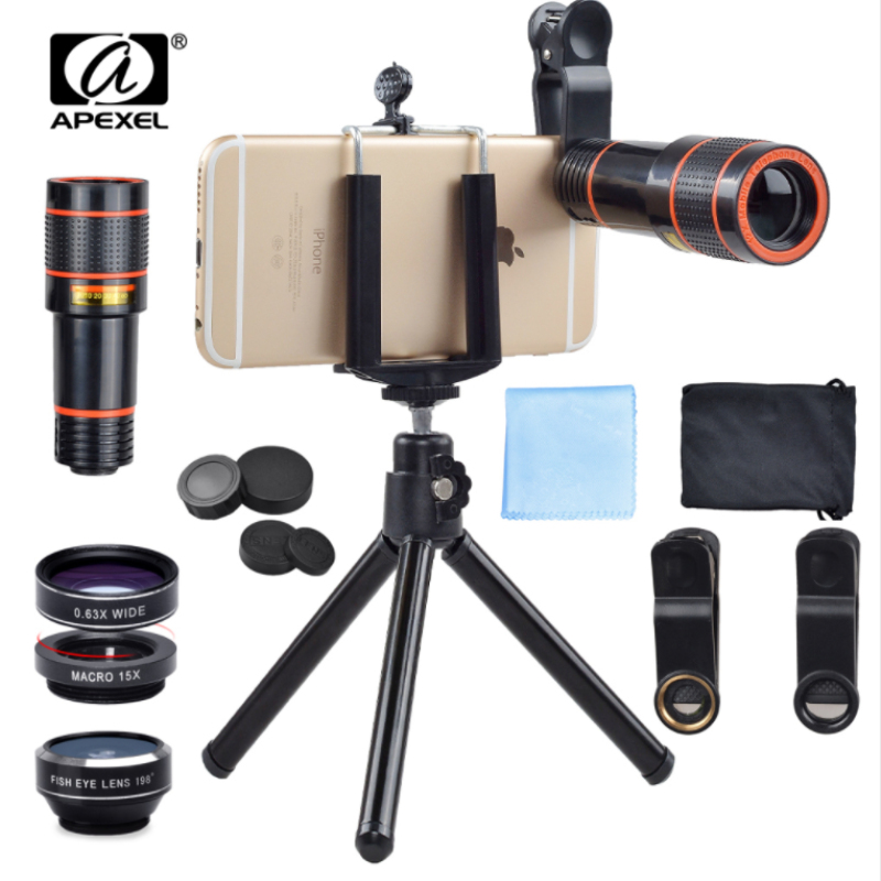 APEXEL Universal 6 in 1 tripod 12X Zoom Telescope Fisheye Wide Angel Macro Lens For iPhone 6 7 Samsung S8 S7 android smartphone
