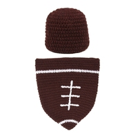 Cute Ensemble Football Garcon Handmade Crochet Baby Photo Props Kids Hats Accessorry Newborn Fotografia Baby Boy
