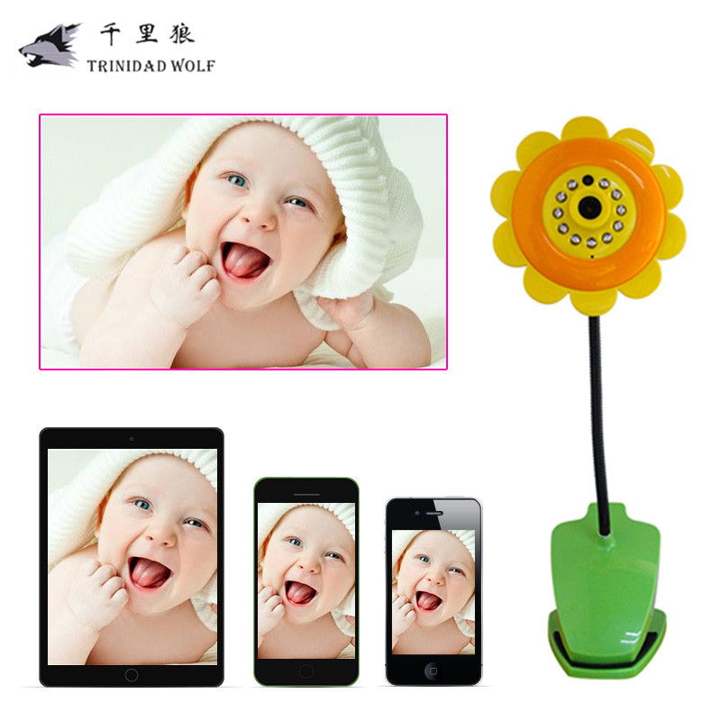 TRINIDAD WOLF Wireless Baby Monitor Security Camera Sun Flower Wifi Camera DVR Night Vision for iPhone For iPad Android
